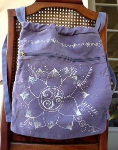 backpack with hand-drawn lotus flower